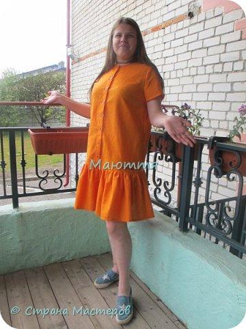 Опять я с нарядами для девочки-подростка)) Короче, укомплектовали ребенка полностью)) Платье из льна с хлопком. Совершенно простое в крое, но смотрится отлично.  фото 1