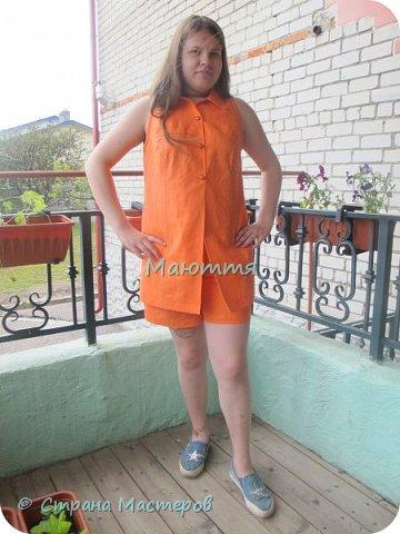 Опять я с нарядами для девочки-подростка)) Короче, укомплектовали ребенка полностью)) Платье из льна с хлопком. Совершенно простое в крое, но смотрится отлично.  фото 5