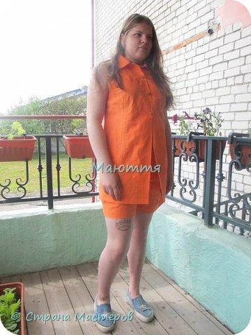 Опять я с нарядами для девочки-подростка)) Короче, укомплектовали ребенка полностью)) Платье из льна с хлопком. Совершенно простое в крое, но смотрится отлично.  фото 6