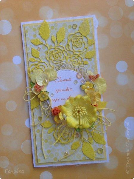 Это открыточка на солнечную свадьбу.  Сделана в начале июня, забыла показать. Вся желтая, искрится эмбоссингом на вырубке и глиттером на бумаге:) фото 1