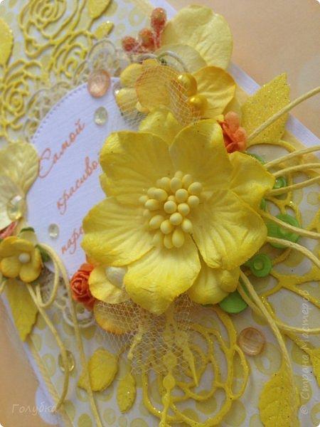 Это открыточка на солнечную свадьбу.  Сделана в начале июня, забыла показать. Вся желтая, искрится эмбоссингом на вырубке и глиттером на бумаге:) фото 3