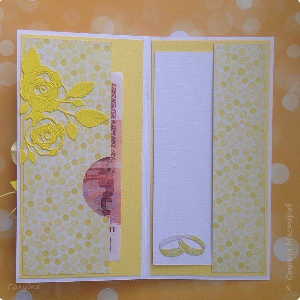 Это открыточка на солнечную свадьбу.  Сделана в начале июня, забыла показать. Вся желтая, искрится эмбоссингом на вырубке и глиттером на бумаге:) фото 4