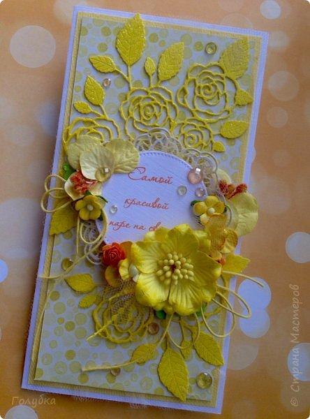 Это открыточка на солнечную свадьбу.  Сделана в начале июня, забыла показать. Вся желтая, искрится эмбоссингом на вырубке и глиттером на бумаге:) фото 10