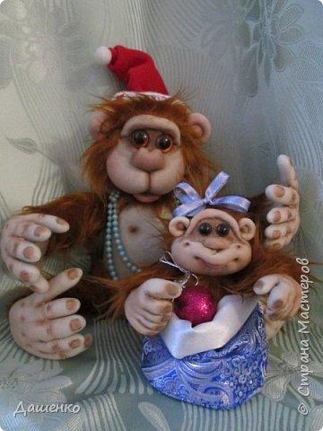 символ Нового года - обезьянка с обезьянышем