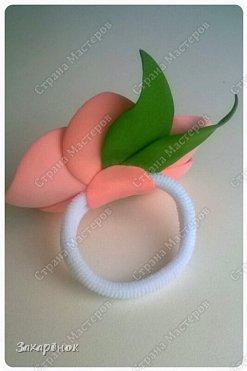 Резиночка для волос персикового цвета ;).  фото 3