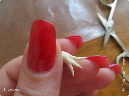 Здравствуйте жители СМ!  Недавно лепила жасмин из хф - и просто влюбилась в этот цветок! Вот что получилось. Решила сфоткать процесс создания цветочка - вдруг кому-то пригодится. фото 19