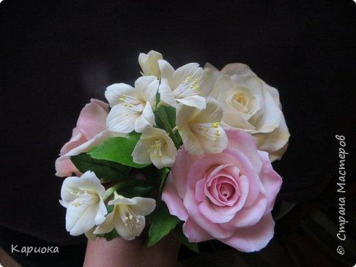 Здравствуйте жители СМ!  Недавно лепила жасмин из хф - и просто влюбилась в этот цветок! Вот что получилось. Решила сфоткать процесс создания цветочка - вдруг кому-то пригодится. фото 28