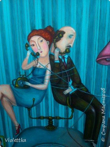 """Спасибо всем, кто заглянул ко мне! Наконей-то закончила картину!  Это творческая копия картины Анны Силивончик """"Телефонные связи"""".  Картина мне навевает мысли о советских временах, фильмах....  Желаю всем приятного промотра и добрых эмоций!  фото 3"""