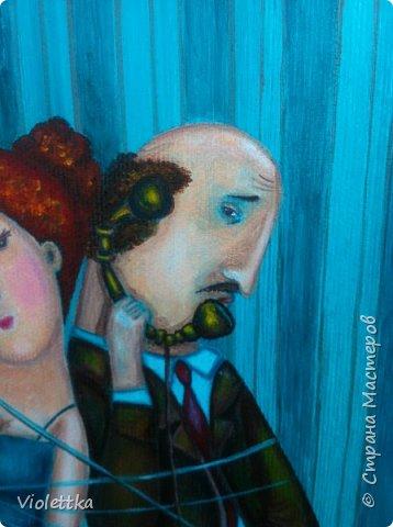 """Спасибо всем, кто заглянул ко мне! Наконей-то закончила картину!  Это творческая копия картины Анны Силивончик """"Телефонные связи"""".  Картина мне навевает мысли о советских временах, фильмах....  Желаю всем приятного промотра и добрых эмоций!  фото 4"""