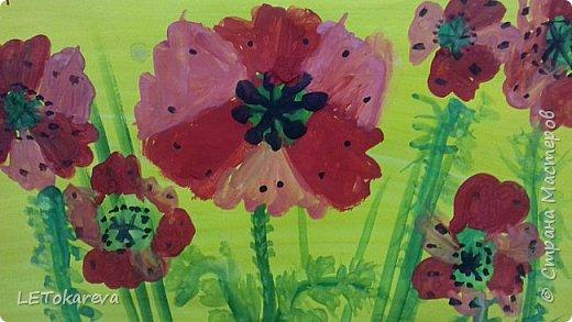 Здравствуйте!  Мы со старшими дошкольниками нарисовали маки. Меня вдохновила на эту работу с детьми Залия Кутдусова  http://stranamasterov.ru/user/230561. Спасибо Вам! фото 2