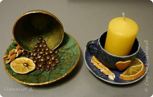 Всем доброго времени суток! Пришло лето, нужны подарки! Вот такая вот родилась чашечная пара - одна кофеюшка и одна подсвечушка! Но обе с апельсиновым подтекстом.... фото 1
