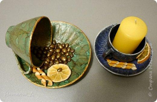 Всем доброго времени суток! Пришло лето, нужны подарки! Вот такая вот родилась чашечная пара - одна кофеюшка и одна подсвечушка! Но обе с апельсиновым подтекстом.... фото 2