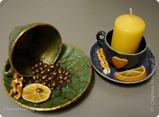 Всем доброго времени суток! Пришло лето, нужны подарки! Вот такая вот родилась чашечная пара - одна кофеюшка и одна подсвечушка! Но обе с апельсиновым подтекстом.... фото 4