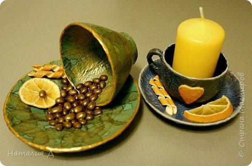 Всем доброго времени суток! Пришло лето, нужны подарки! Вот такая вот родилась чашечная пара - одна кофеюшка и одна подсвечушка! Но обе с апельсиновым подтекстом.... фото 3
