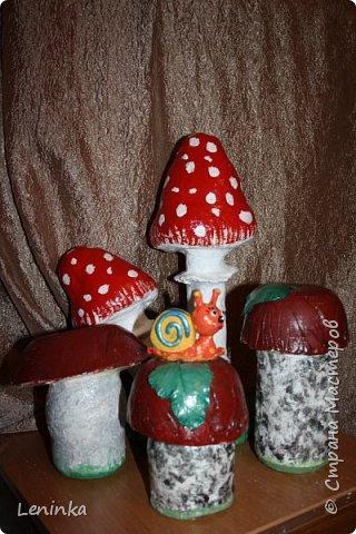 Вот такие грибочки у меня получились по мастер классу (http://samayamk.ru/podelki-iz-gipsa/sadovye-gribochki-iz-gipsa.html) я просто добавила улитку и листики которые слепила из пластики.  фото 9