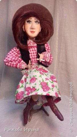 Моя первая кукла в технике лепки из запекаемой глины. На данной модели я использовала Фимо. Тело бескаркасное, текстильное, набивное.Моя Джина, подруга ковбоя. В данной технике я работаю совсем мало, около года. Понимаю, что нужно многому учиться, но все таки очень хочу показать, что получилось.  фото 1