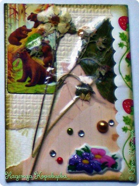 """Всем солнечного настроения!))) Это моя следующая серия АТС-ок под названием """"Сохраним лето"""". За основу взяла акварельную бумагу. В работе использовала гербарий, обои, атласную ленточку, скрап бумагу, полужемчужины и много другое. Гербарий ламинировала скотчем, поэтому на фотографии цветочки и листочки отсвечиваются.  Давайте меняться!!! фото 4"""