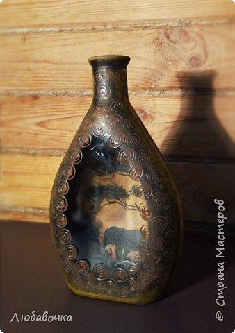 Бутылка - светильник (обратный декупаж)  фото 2