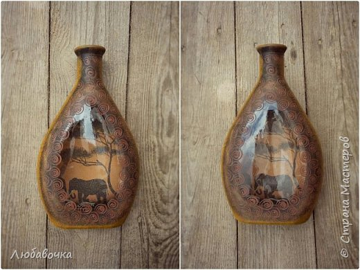 Бутылка - светильник (обратный декупаж)  фото 5