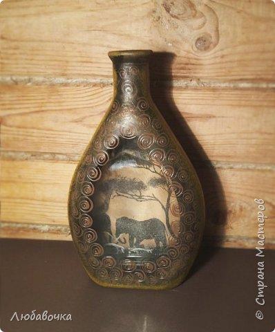 Бутылка - светильник (обратный декупаж)  фото 3