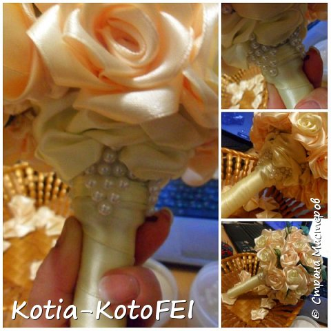 Букет невесты из лент фото 3