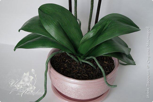 """Вот такая орхидейка """"зацвела"""" у меня на этот раз))) Пятнистый фаленопсис. Все из фоамирана и сопутствующих ему материалов. фото 5"""