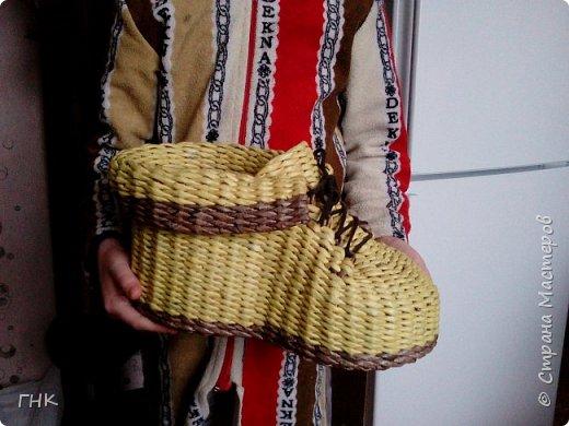 Хочу показать Вам все свои ботиночки. Первый башмак, который сплёлся. Трубочки красила грунтовка+вода+колер+лак фото 2
