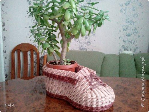 Хочу показать Вам все свои ботиночки. Первый башмак, который сплёлся. Трубочки красила грунтовка+вода+колер+лак фото 8