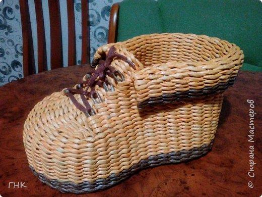 Хочу показать Вам все свои ботиночки. Первый башмак, который сплёлся. Трубочки красила грунтовка+вода+колер+лак фото 13
