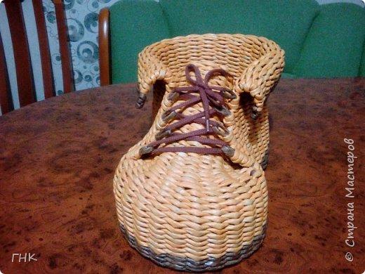 Хочу показать Вам все свои ботиночки. Первый башмак, который сплёлся. Трубочки красила грунтовка+вода+колер+лак фото 12