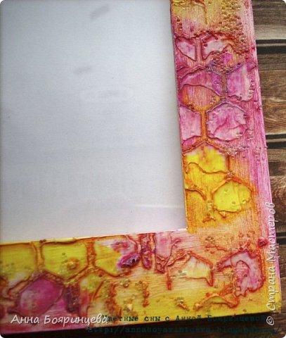 Всем привет!!!!! Сегодня рамочка для фото 10*15 см. Цвет фуксия и желтый.  фото 3