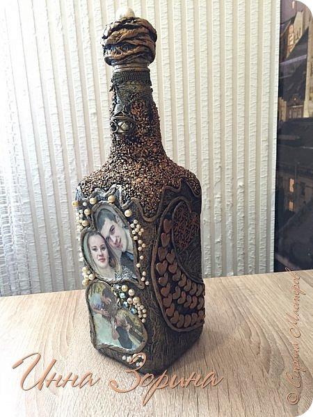 Пробую себя в разных техниках и с разными материалами,не всё выходит удачно,но так всего много хочется,что удержу нет)Эта бутылочка -подарок на свадьбу племяннице. фото 2