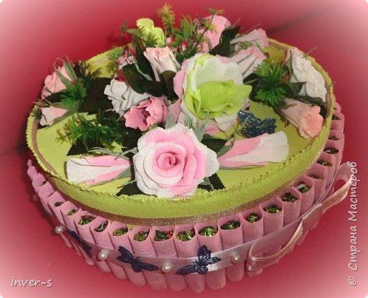"""Вот такой """"торт"""" сегодня получила в подарок на День рождения моя сестра. """"Тортик"""" с сюрпризом: в нём спрятаны не только конфетки, но и сам подарок.  Общий вид ... фото 6"""