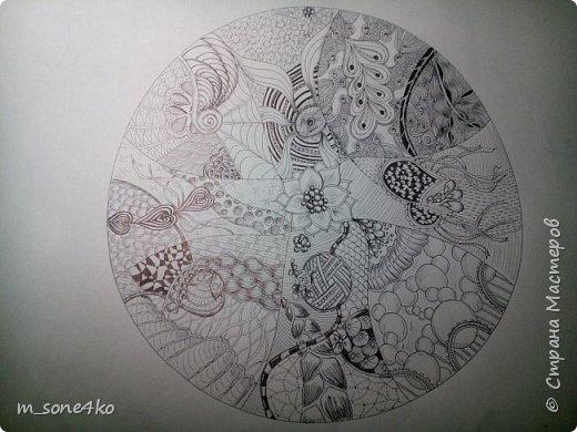 Хочу поделиться результатом творчества 13 недель..  Началось все с участия в психологическом рисовальном проекте. Основным условием было использование для рисунка круг диаметром 25-27 см (у меня 26 см), а также начинать рисунок от точки в центре.  Техника и оформление - не ограничивалась. В моем случае - это зенарт (zenart, ZIA) и дудлинг . Эти направления популярны как вид арттерапии, способ создания медитивных рисунков.  Мандалы могли быть, как симметричными. так и ассиметричными, но должны были соответствовать заданной тематике.  фото 14