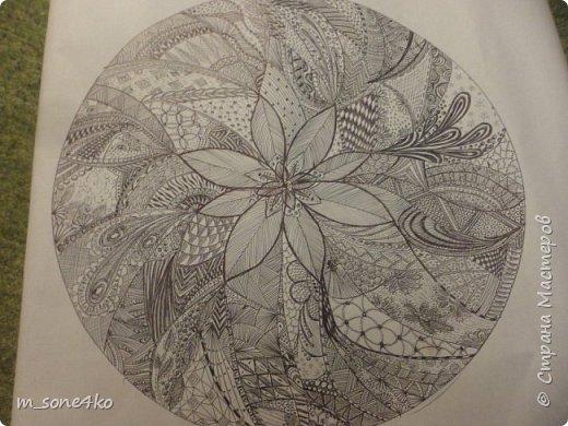 Хочу поделиться результатом творчества 13 недель..  Началось все с участия в психологическом рисовальном проекте. Основным условием было использование для рисунка круг диаметром 25-27 см (у меня 26 см), а также начинать рисунок от точки в центре.  Техника и оформление - не ограничивалась. В моем случае - это зенарт (zenart, ZIA) и дудлинг . Эти направления популярны как вид арттерапии, способ создания медитивных рисунков.  Мандалы могли быть, как симметричными. так и ассиметричными, но должны были соответствовать заданной тематике.  фото 2