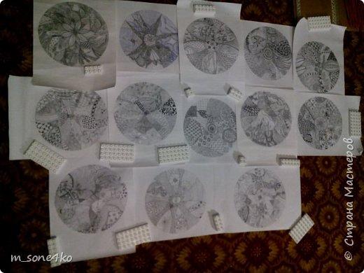 Хочу поделиться результатом творчества 13 недель..  Началось все с участия в психологическом рисовальном проекте. Основным условием было использование для рисунка круг диаметром 25-27 см (у меня 26 см), а также начинать рисунок от точки в центре.  Техника и оформление - не ограничивалась. В моем случае - это зенарт (zenart, ZIA) и дудлинг . Эти направления популярны как вид арттерапии, способ создания медитивных рисунков.  Мандалы могли быть, как симметричными. так и ассиметричными, но должны были соответствовать заданной тематике.  фото 15