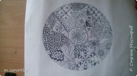 Хочу поделиться результатом творчества 13 недель..  Началось все с участия в психологическом рисовальном проекте. Основным условием было использование для рисунка круг диаметром 25-27 см (у меня 26 см), а также начинать рисунок от точки в центре.  Техника и оформление - не ограничивалась. В моем случае - это зенарт (zenart, ZIA) и дудлинг . Эти направления популярны как вид арттерапии, способ создания медитивных рисунков.  Мандалы могли быть, как симметричными. так и ассиметричными, но должны были соответствовать заданной тематике.  фото 7