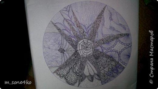 Хочу поделиться результатом творчества 13 недель..  Началось все с участия в психологическом рисовальном проекте. Основным условием было использование для рисунка круг диаметром 25-27 см (у меня 26 см), а также начинать рисунок от точки в центре.  Техника и оформление - не ограничивалась. В моем случае - это зенарт (zenart, ZIA) и дудлинг . Эти направления популярны как вид арттерапии, способ создания медитивных рисунков.  Мандалы могли быть, как симметричными. так и ассиметричными, но должны были соответствовать заданной тематике.  фото 3