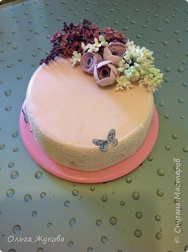 Доброго времени суток всем-всем! Захотелось попробовать сделать сирень на торт. Лепила долго, не получалась, ломалась... Началось с того, что никак не получалось покрасить мастику в нужный цвет! Вроде даже краситель брала фиолетовый, но у меня почему-то  мастика получалась синей! Может кто-нибудь подскажет- почему?!! Много раз переделывала и т.д и т.п. Ну, охота пуще неволи! Вот результат. фото 7