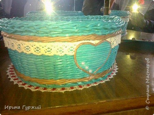 Корзиночка на свадьбу, в бирюзовом цвете. Извините за качество, снималось в спешке. фото 1