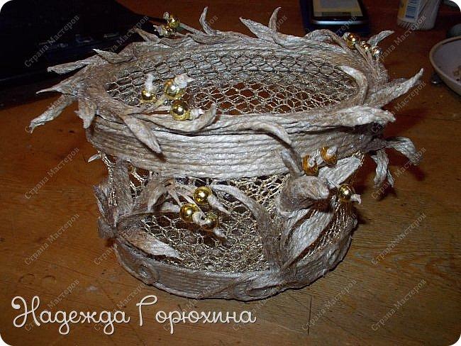 """Шкатулка """"Лето золотое"""". Выполнена из джута (натуральный цвет), золотой сетки (текстильная), золотых бусин. Высота шкатулки 7 см. фото 10"""