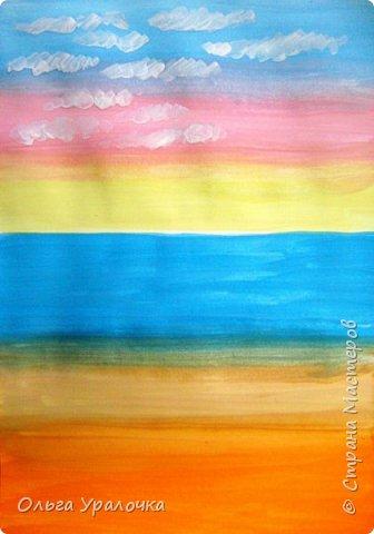 """Вот и пришло долгожданное лето! Хочется на на природу ближе к воде, а еще лучше на море. И мне хотелось бы приложить вашему вниманию мастер-класс по рисованию """"Пейзаж. На морском берегу"""". Работа может быть выполнении как людьми с опытом рисования, так и новичками. Рисунок будем выполнять поэтапно. Работа выполняется без предварительного рисунка. Нам понадобятся: гуашь ватман формата А-3., нейлоновые кисти под номерами 2, 3,5. фото 7"""