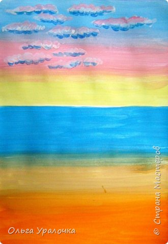 """Вот и пришло долгожданное лето!  Хочется на на природу ближе к воде , а еще лучше на море. И мне хотелось бы приложить вашему вниманию мастер-класс по рисованию """"Пейзаж. На морском берегу"""". Работа может быть выполнении как людьми с опытом рисования, так и новичками . Рисунок будем выполнять поэтапно. Работа выполняется без предварительного рисунка. Нам понадобятся: гуашь ватман формата А-3. , нейлоновые кисти под номерами 2 , 3 ,5.  фото 8"""