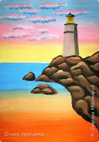 """Вот и пришло долгожданное лето!  Хочется на на природу ближе к воде , а еще лучше на море. И мне хотелось бы приложить вашему вниманию мастер-класс по рисованию """"Пейзаж. На морском берегу"""". Работа может быть выполнении как людьми с опытом рисования, так и новичками . Рисунок будем выполнять поэтапно. Работа выполняется без предварительного рисунка. Нам понадобятся: гуашь ватман формата А-3. , нейлоновые кисти под номерами 2 , 3 ,5.  фото 16"""