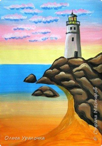 """Вот и пришло долгожданное лето!  Хочется на на природу ближе к воде , а еще лучше на море. И мне хотелось бы приложить вашему вниманию мастер-класс по рисованию """"Пейзаж. На морском берегу"""". Работа может быть выполнении как людьми с опытом рисования, так и новичками . Рисунок будем выполнять поэтапно. Работа выполняется без предварительного рисунка. Нам понадобятся: гуашь ватман формата А-3. , нейлоновые кисти под номерами 2 , 3 ,5.  фото 20"""