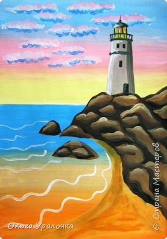 """Вот и пришло долгожданное лето!  Хочется на на природу ближе к воде , а еще лучше на море. И мне хотелось бы приложить вашему вниманию мастер-класс по рисованию """"Пейзаж. На морском берегу"""". Работа может быть выполнении как людьми с опытом рисования, так и новичками . Рисунок будем выполнять поэтапно. Работа выполняется без предварительного рисунка. Нам понадобятся: гуашь ватман формата А-3. , нейлоновые кисти под номерами 2 , 3 ,5.  фото 21"""