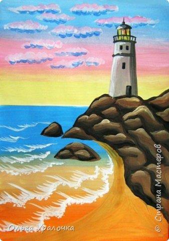 """Вот и пришло долгожданное лето!  Хочется на на природу ближе к воде , а еще лучше на море. И мне хотелось бы приложить вашему вниманию мастер-класс по рисованию """"Пейзаж. На морском берегу"""". Работа может быть выполнении как людьми с опытом рисования, так и новичками . Рисунок будем выполнять поэтапно. Работа выполняется без предварительного рисунка. Нам понадобятся: гуашь ватман формата А-3. , нейлоновые кисти под номерами 2 , 3 ,5.  фото 23"""
