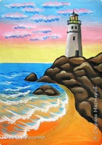 """Вот и пришло долгожданное лето!  Хочется на на природу ближе к воде , а еще лучше на море. И мне хотелось бы приложить вашему вниманию мастер-класс по рисованию """"Пейзаж. На морском берегу"""". Работа может быть выполнении как людьми с опытом рисования, так и новичками . Рисунок будем выполнять поэтапно. Работа выполняется без предварительного рисунка. Нам понадобятся: гуашь ватман формата А-3. , нейлоновые кисти под номерами 2 , 3 ,5.  фото 24"""