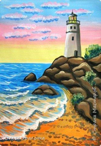 """Вот и пришло долгожданное лето!  Хочется на на природу ближе к воде , а еще лучше на море. И мне хотелось бы приложить вашему вниманию мастер-класс по рисованию """"Пейзаж. На морском берегу"""". Работа может быть выполнении как людьми с опытом рисования, так и новичками . Рисунок будем выполнять поэтапно. Работа выполняется без предварительного рисунка. Нам понадобятся: гуашь ватман формата А-3. , нейлоновые кисти под номерами 2 , 3 ,5.  фото 29"""