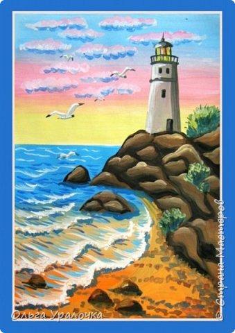 """Вот и пришло долгожданное лето!  Хочется на на природу ближе к воде , а еще лучше на море. И мне хотелось бы приложить вашему вниманию мастер-класс по рисованию """"Пейзаж. На морском берегу"""". Работа может быть выполнении как людьми с опытом рисования, так и новичками . Рисунок будем выполнять поэтапно. Работа выполняется без предварительного рисунка. Нам понадобятся: гуашь ватман формата А-3. , нейлоновые кисти под номерами 2 , 3 ,5.  фото 34"""